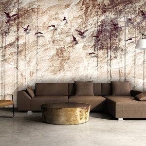 Fotobehang - Vogels in de lucht , Vergeeld Papierlook