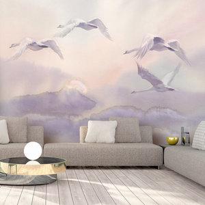 Fotobehang - Vliegende Zwanen