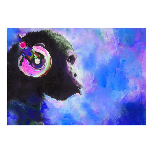 Fotobehang - Blauwe Melodie , Aap met Koptelefoon