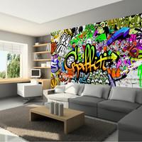 Fotobehang - Kleurrijke Graffiti op de muur