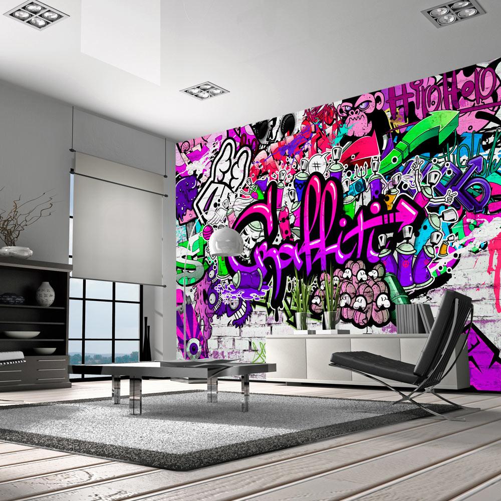 Fotobehang - Chaos in paarse Graffiti