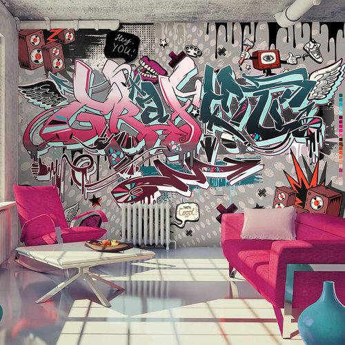 Fotobehang - Chaos in Graffiti: hey You!