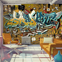 Fotobehang - That's cool,  Chaos in graffiti, premium print vliesbehang