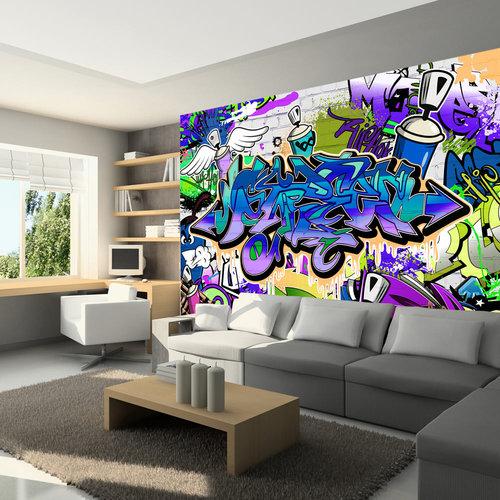 Fotobehang - Graffiti: Chaos in Violet