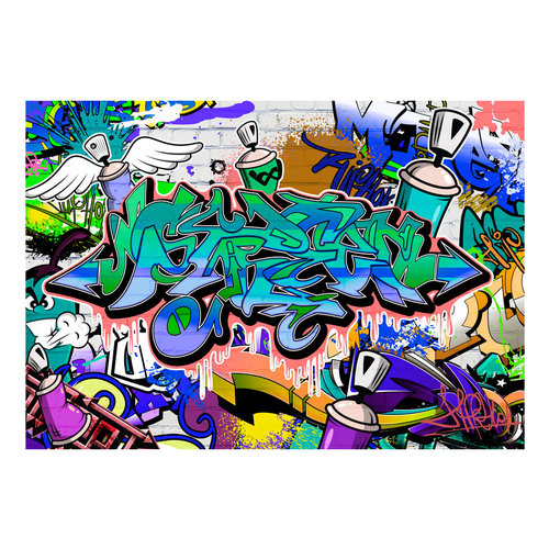 Fotobehang - Graffiti: Chaos in Blauw, premium print vliesbehang