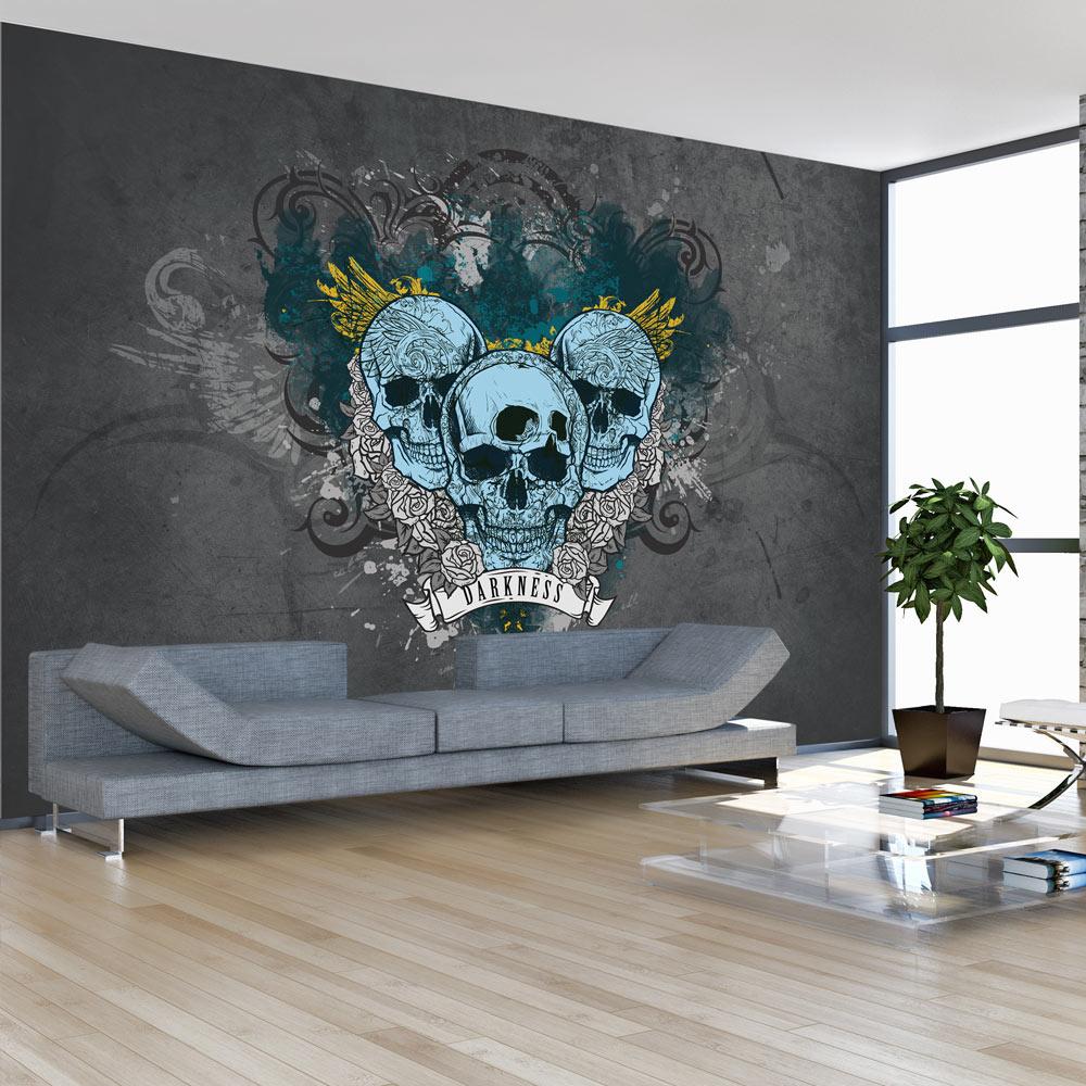 Fotobehang -Graffiti van de Duisternis , Blauwe Schedels