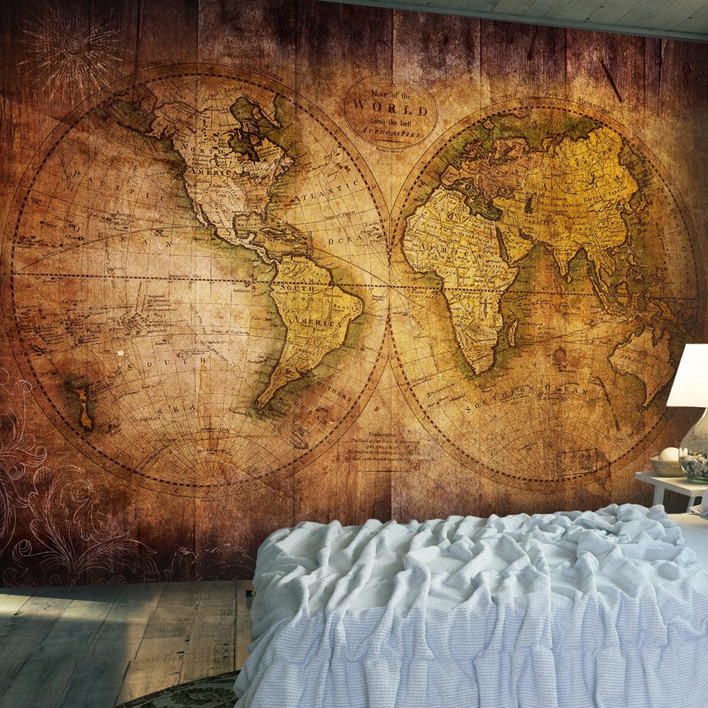 Fotobehang - Wereld op oude kaart