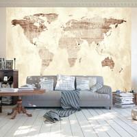 Fotobehang - Beige wereldkaart