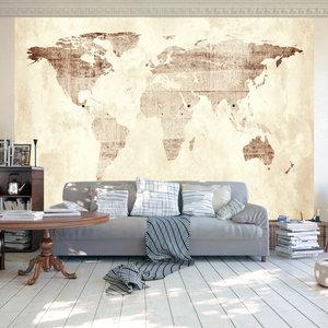 Fotobehang - Beige wereldkaart, premium print vliesbehang
