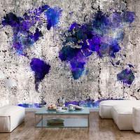 Fotobehang - Wereldkaart inktvlekken