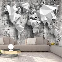 Fotobehang - Wereldkaart Origami, premium print vliesbehang