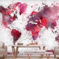 Fotobehang - Wereldkaart Rode waterverf