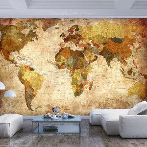Fotobehang - Oude wereldkaart, premium print vliesbehang
