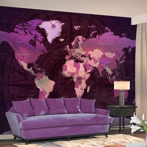 Fotobehang - Paarse wereldkaart
