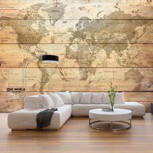 Fotobehang - Wereldkaart op planken (Behang), premium print vliesbehang