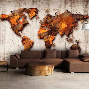 Fotobehang - Bronzen wereld, premium print vliesbehang