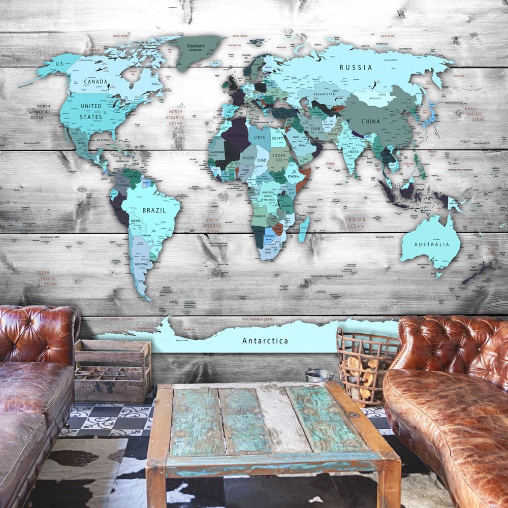 Fotobehang - Wereldkaart blauwe continenten