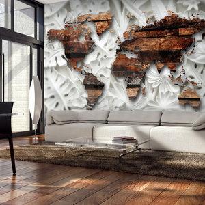 Fotobehang - Houten wereldkaart , premium print vliesbehang