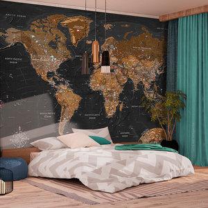 Fotobehang - Wereldkaart stijlvol , premium print vliesbehang
