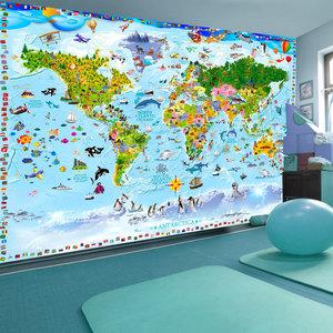 Fotobehang - Wereldkaart voor kinderen, premium print vliesbehang