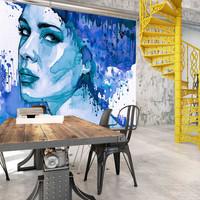 Fotobehang - Vrouw in blauwe inkt, premium print vliesbehang