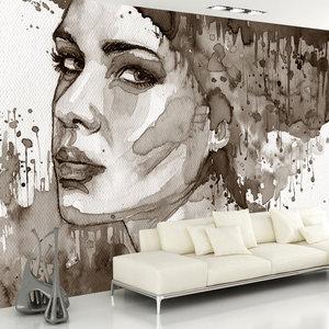 Fotobehang - Vrouw in inkt, premium print vliesbehang