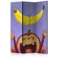 Vouwscherm - Banaan en aapje, kinderkamer 135x172cm, gemonteerd geleverd, dubbelzijdig geprint (kamerscherm)
