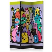 Vouwscherm - Kleurrijke Monsters 135x172cm, gemonteerd geleverd, dubbelzijdig geprint (kamerscherm)