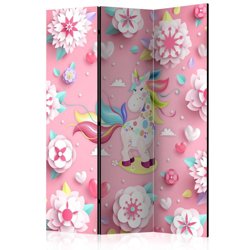 Vouwscherm - Eenhoorn en een bed van bloemen, kinderkamer 135x172cm