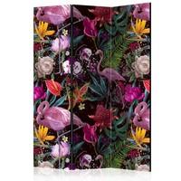 Vouwscherm - Prachtige kleuren, Flamingo  135x172cm, gemonteerd geleverd, dubbelzijdig geprint (kamerscherm)