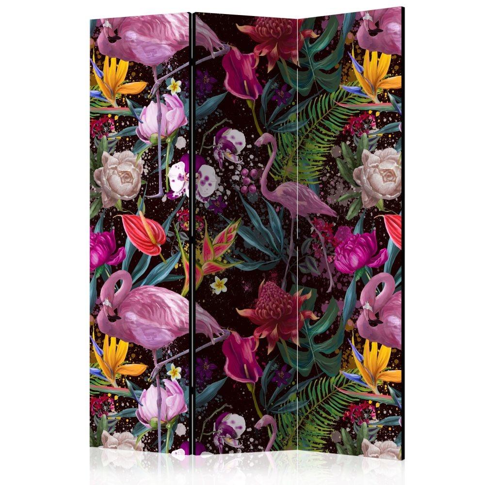 Vouwscherm - Prachtige kleuren, Flamingo 135x172cm, gemonteerd geleverd, dubbelzijdig geprint (kamer