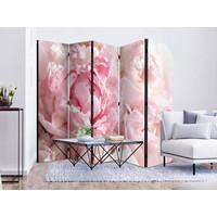 Vouwscherm - Roze pioenrozen,  gemonteerd geleverd (kamerscherm)225x172cm