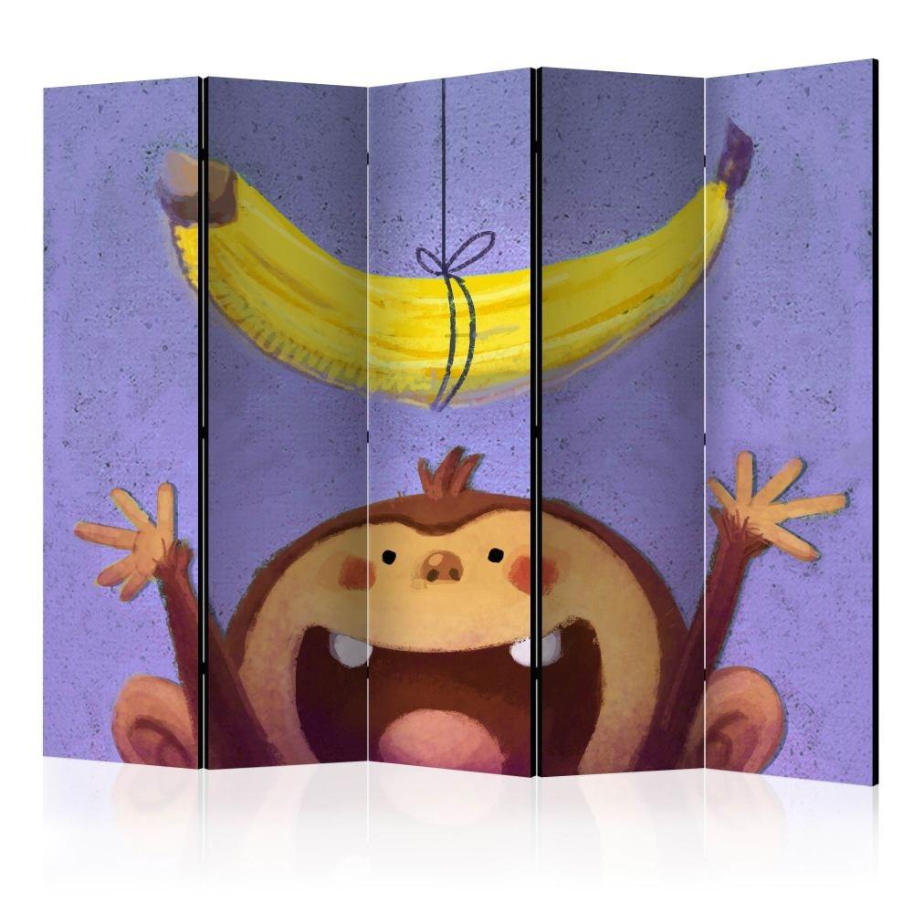 Vouwscherm - Aap met banaan, kinderkamer, gemonteerd geleverd (kamerscherm)225x172 cm