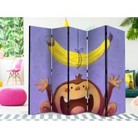 Vouwscherm - Aap met banaan, kinderkamer, 225x172 cm