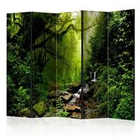 Vouwscherm - Het sprookjesbos, gemonteerd geleverd, dubbelzijdig geprint (kamerscherm) 225x172 cm