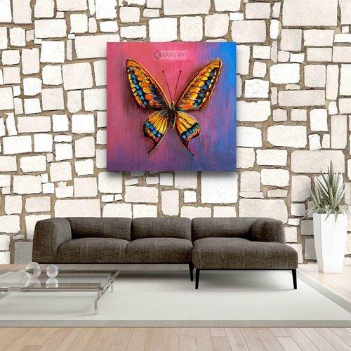 Karo-art Schilderij - Vlinder in kleuren (op canvas geprint olieverf schilderij)