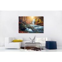 Karo-art Schilderij - Waterval in bos, herfst