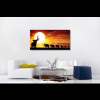 Karo-art Schilderij - Kudde olifanten bij zonsondergang