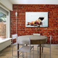 Karo-art Schilderij - Wijn en kaas, het goede leven