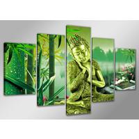 Karo-art Schilderij Boeddha en bamboe 160x80cm, 5 luik
