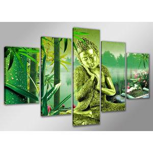 Schilderij Boeddha en bamboe 160x80cm, 5 luik