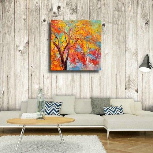 Karo-art Schilderij - Park in de herfst (print van olieverf, modern Impressionisme)