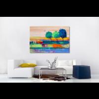 Karo-art Schilderij - Gekleurde bomen (print van olieverf schilderij)