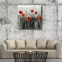 Karo-art Schilderij - Klaprozen, moderne kunst