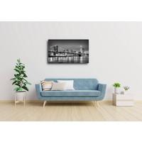 Karo-art Schilderij, Brooklyn bridge, New York, zwart,wit