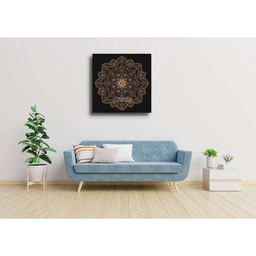 Karo-art Schilderij - Mandala, bruin
