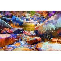 Karo-art Schilderij - Waterval met kleurrijke stenen (digitale kunst) , multikleur , 3 maten , Premium print
