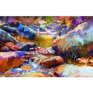 Karo-art Schilderij - Waterval met kleurrijke stenen (digitale kunst)