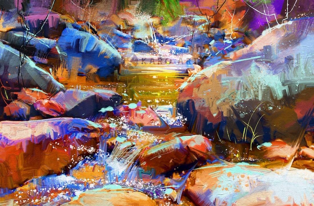 Schilderij - Waterval met kleurrijke stenen (digitale kunst)