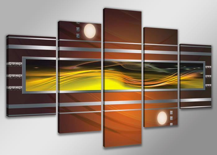 Schilderij - Abstract in geel en bruin
